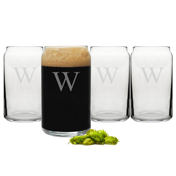 Set of 4 craft beer can glasses with single engraved initial