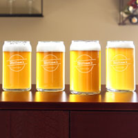 Set of 4 home brew can glasses with engraved name and craft beer design