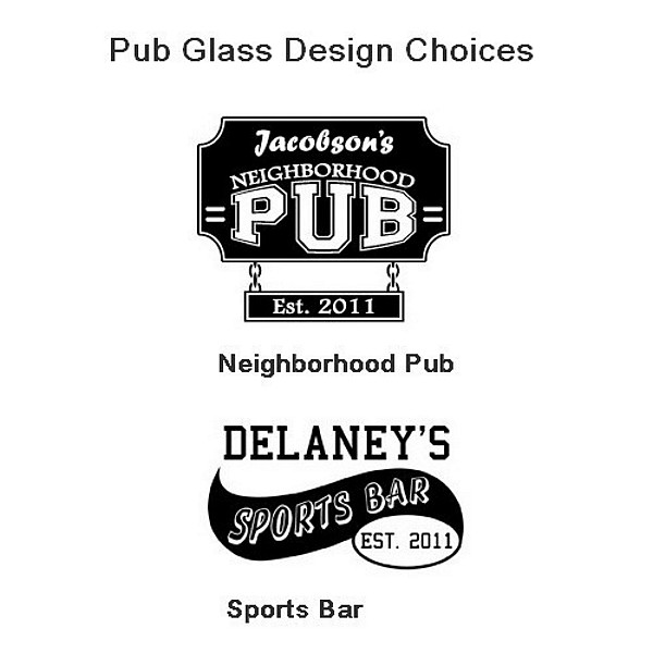 Personalized pub glass design choices