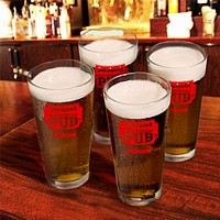 Personalized pub glasses with Neighborhood Pub design