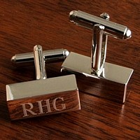 Rectangular-shaped silver tone Cufflink Bars personalized with 3 monogram initials
