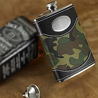 Engraved Green Camouflage Leather Flasks