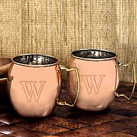 Moscow mule mug set engraved with single block initial