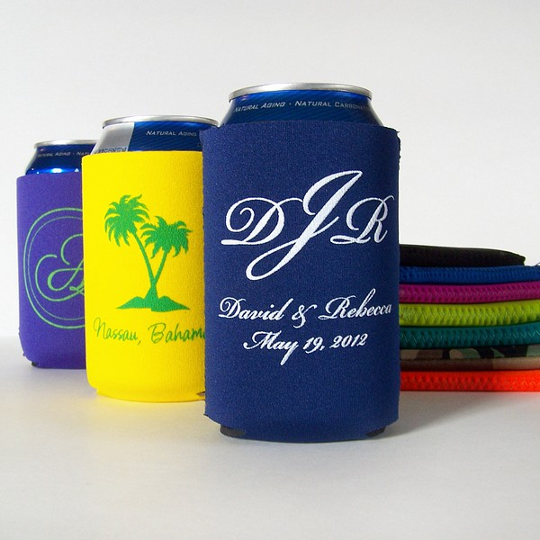 Soft collapsible can coolers personalized with wedding wedding designs and custom print.