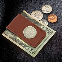 Engraved Brown Leather Magnetic Money Clip