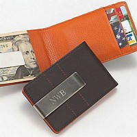Personalized Brown and Orange Leather Money Clip Wallet