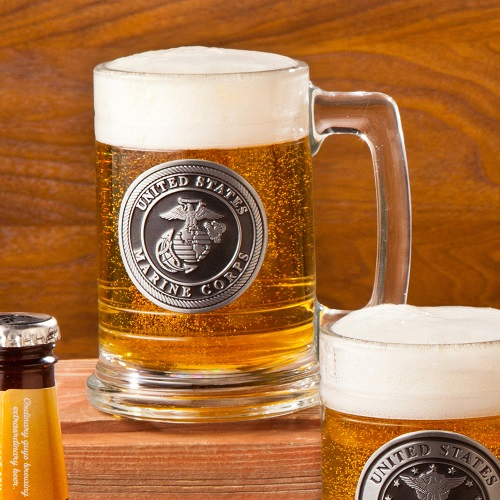 Personalized Marine Corps Emblem Beer Mugs