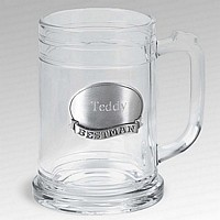 16 Ounce glass beer mug with personalized pewter best man medallion