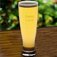 20 ounce pilsner glass personalized with name and date
