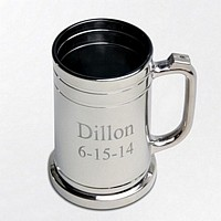 Personalized 16 oz glass mug coated with a thin, shinny gunmetal finish