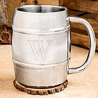 14 Ounce polished stainless steel barrel keg mug engraved with single initial