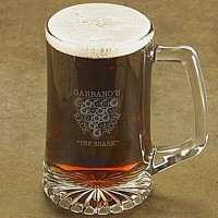 Laser-etched billiards beer mug with two lines of custom print