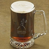Laser-etched football beer mug with two lines of custom print