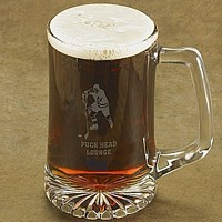 Laser-etched hockey player beer mug with two lines of custom print