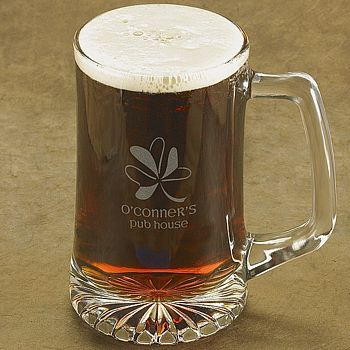 Laser-etched Irish Shamrock design beer mug with two lines of custom print