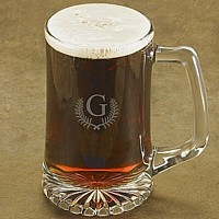 25 oz. beer mug with laser-etched Caesar single letter monogram