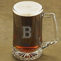 25 oz. glass beer mug with with single varsity letter monogram