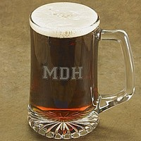 25 Ounce beer mug personalized with laser etched 3 letter monogram