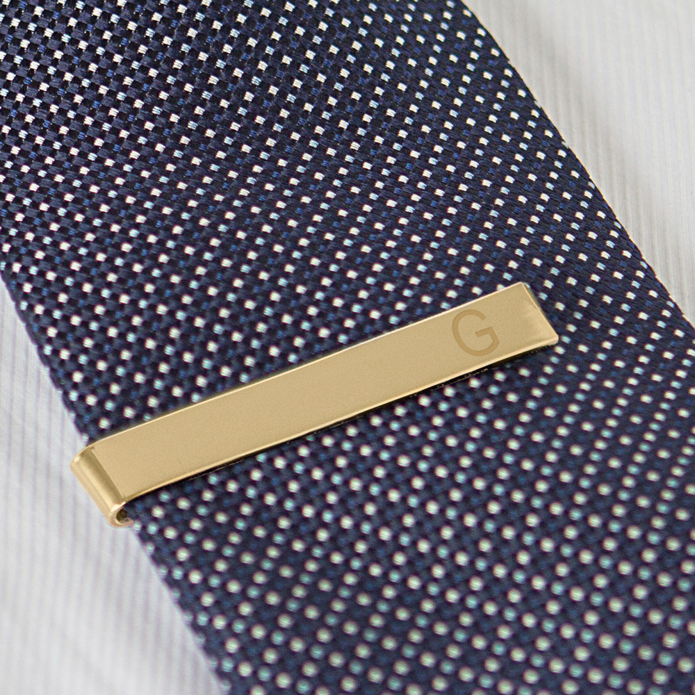 Personalized Men's Classic Slide On Tie Clip with Gold Finish with single engraved initial