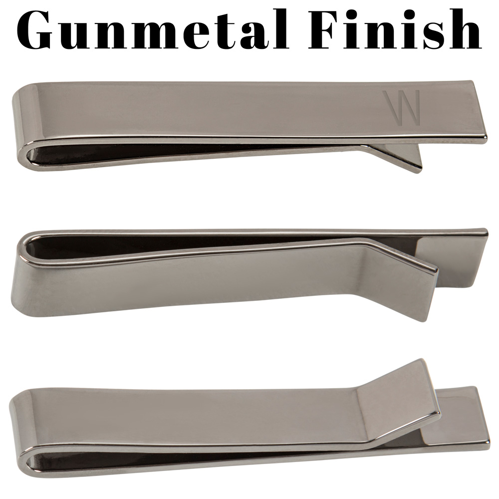 Detailed view of front and back of Personalized Men's Classic Slide On Tie Clip with Gunmetal Finish