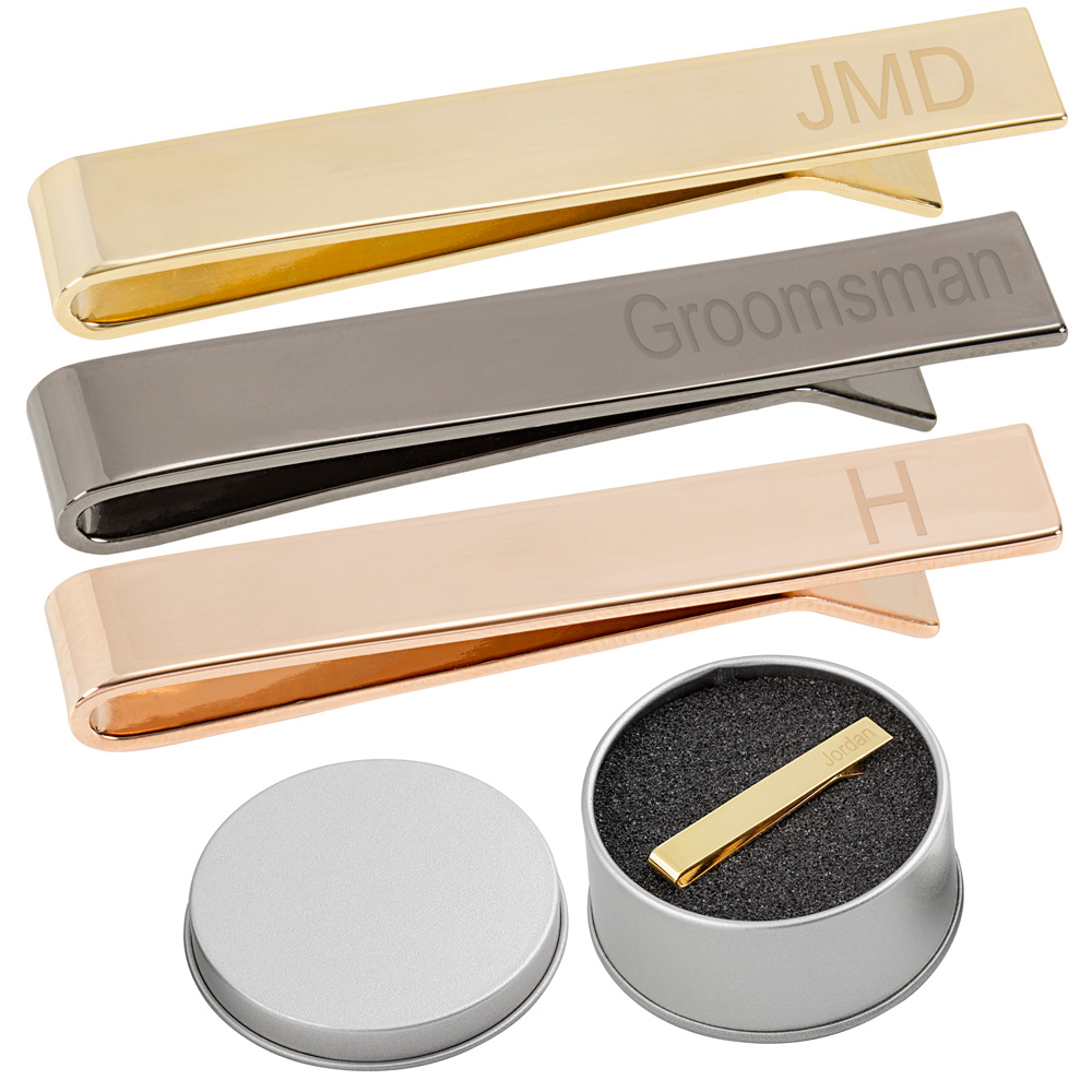 Personalized Men's Classic Slide On Tie Clips in Gold, Gunmetal, and Rose Gold finishes