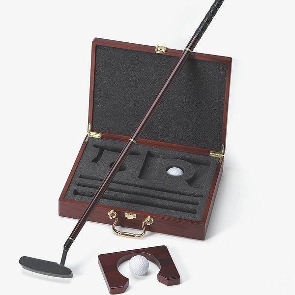 Golf putter set with putter, golf balls, wooden practice cup and personalized wood case
