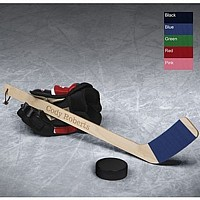 Personalized mini hockey stick with Black, Blue, Green, Red or Pink tape