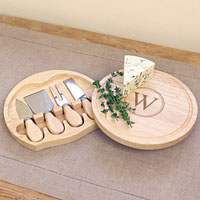 Cheese board set with single block initial engraved inside circle design