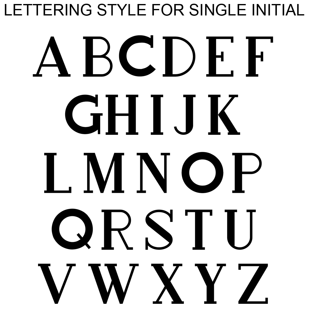 Lettering styles used for single initial monogram