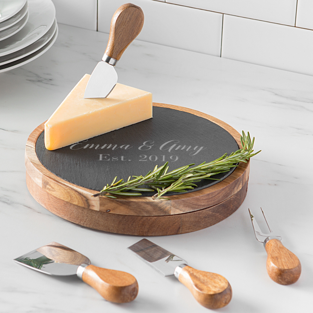Slate and acacia wood cheese serving board with etched custom lines of personalization