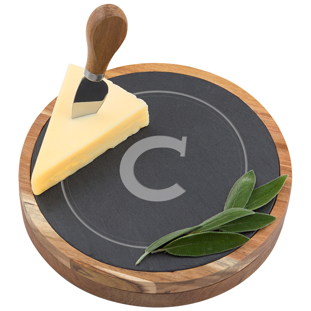 Gourmet 5 piece cheese board set made of slate and acacia wood and etched with large single initial and circle design