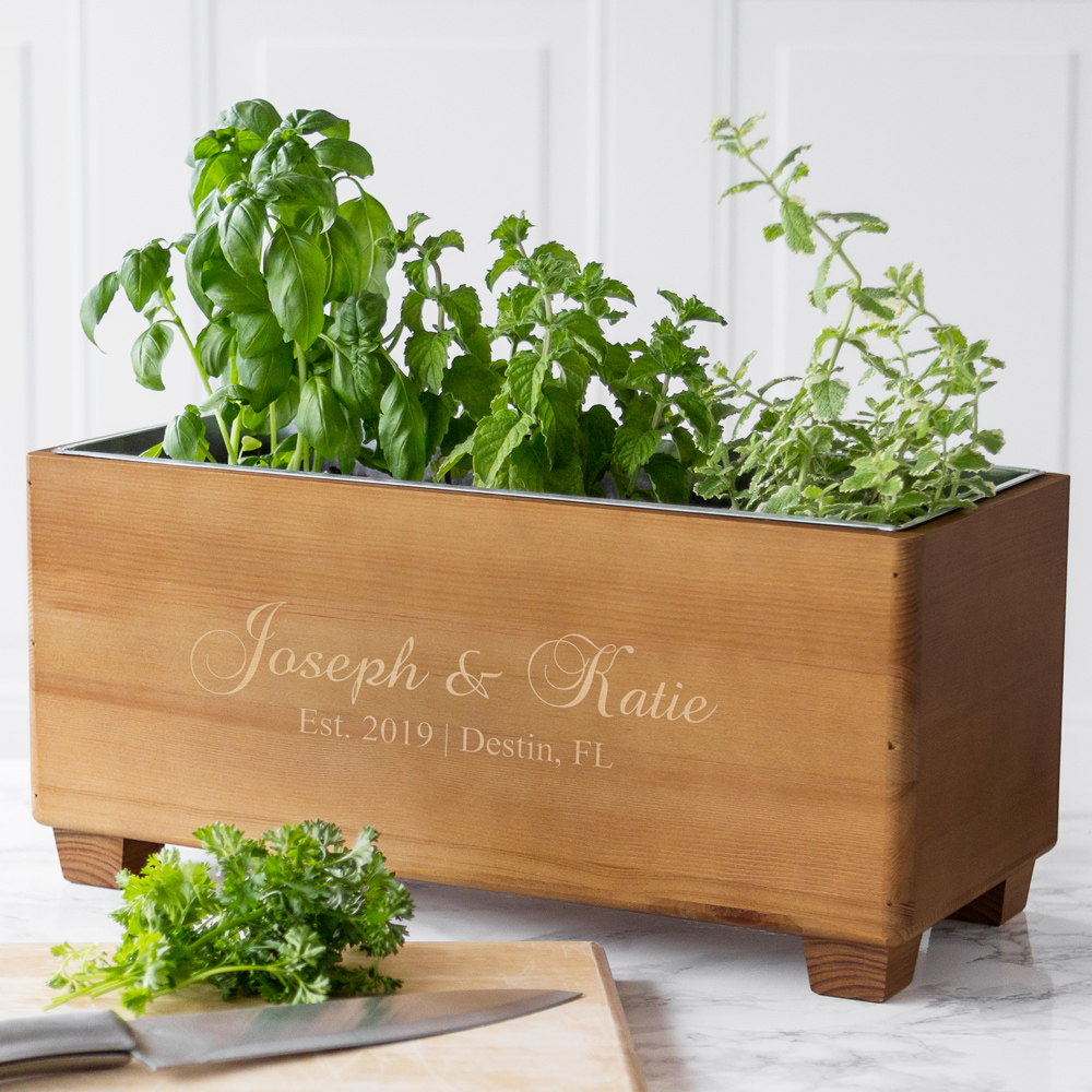 Personalized bride and groom wine trough gift used as decorative herb planter
