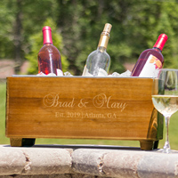 Wood wine bottle chiller trough personalized with bride and groom's name, wedding date and location