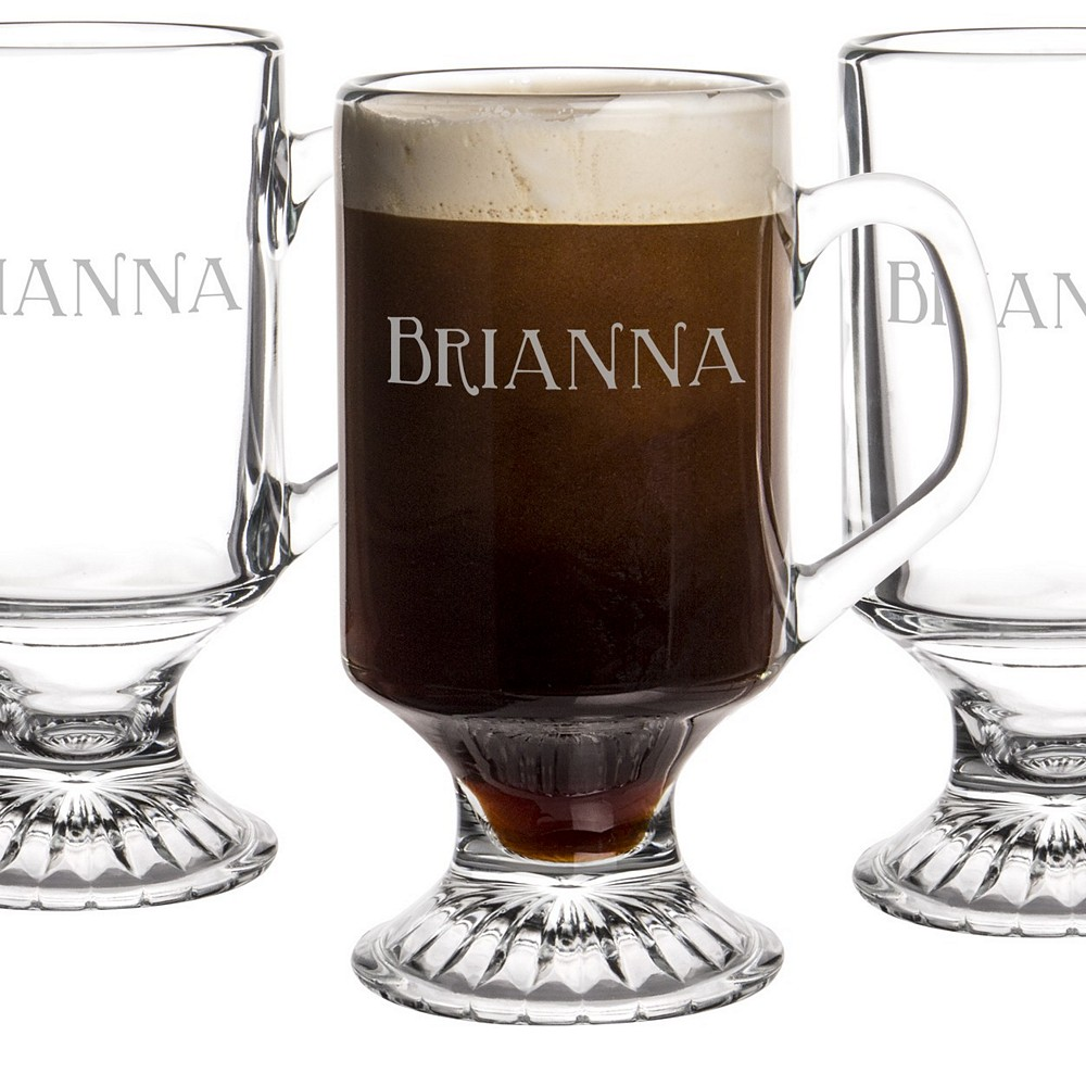 4 Pc. 10 ounce glass irish coffee mug set personalized with name