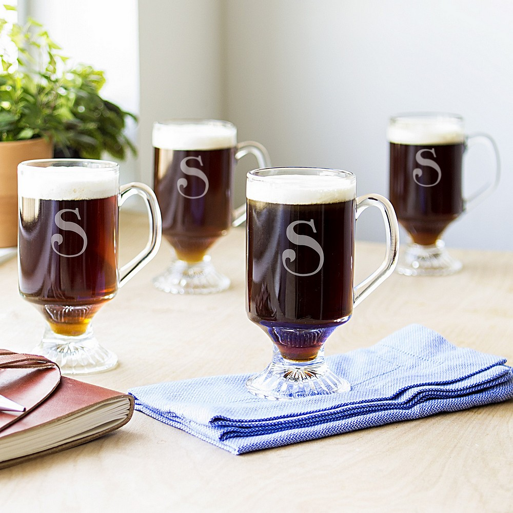 4 Pc. 10 ounce glass irish coffee mug set personalized with large single initial