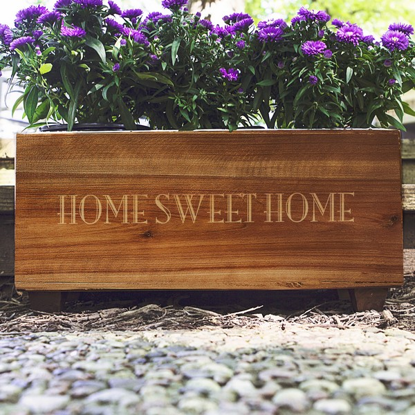 Rustic wood planter box laser engraved with custom print