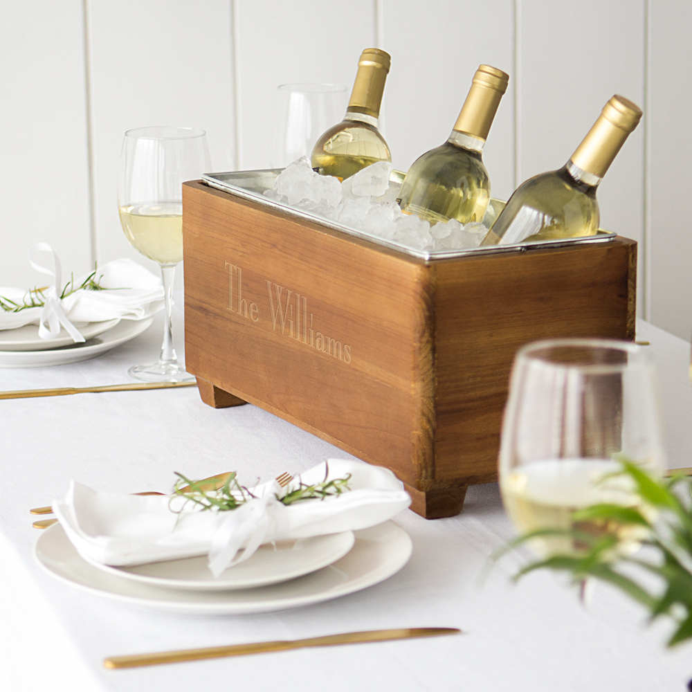 Wood trough wine chiller engraved with family name used as wine chiller dinner table centerpiece
