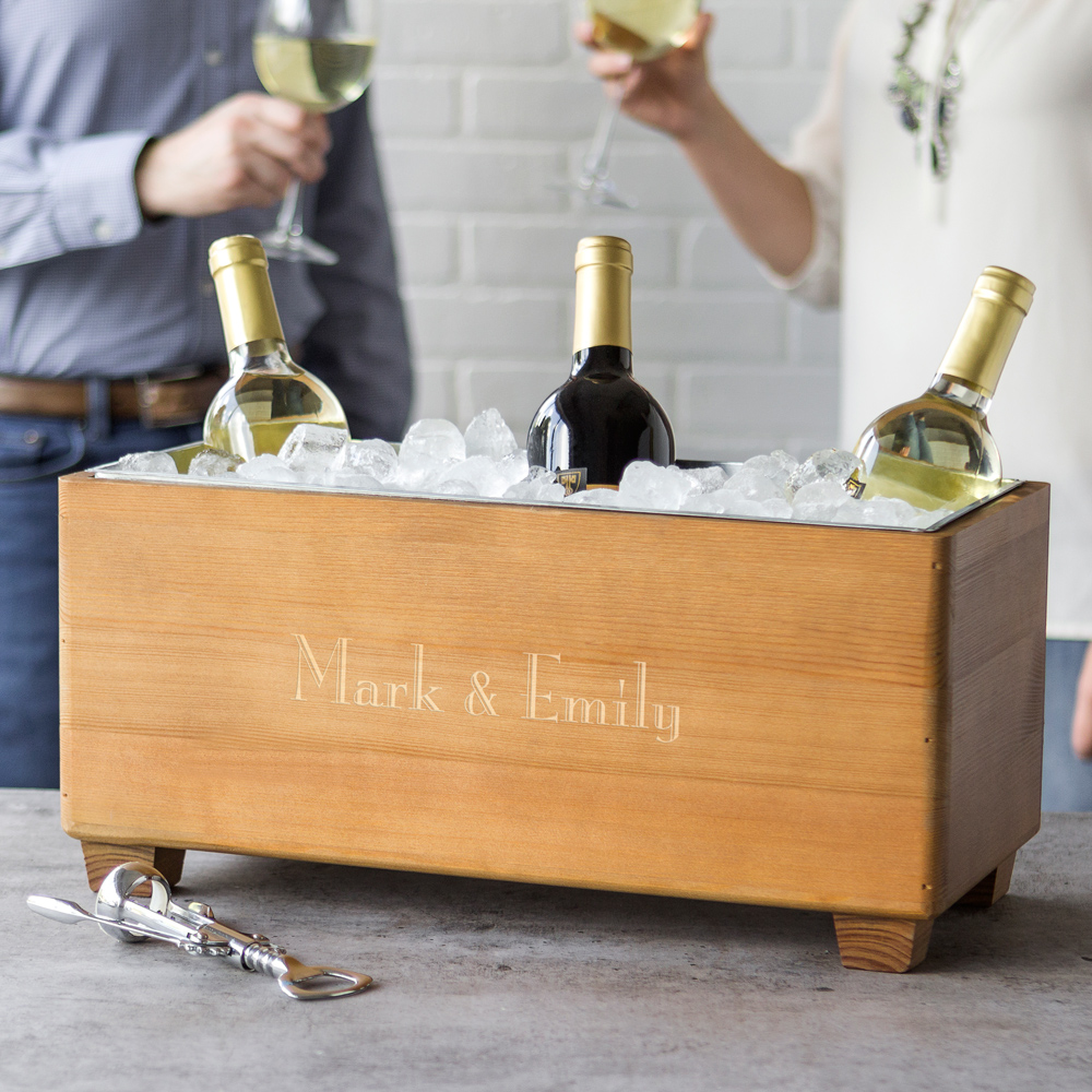 Wood trough wine chiller engraved with two first names