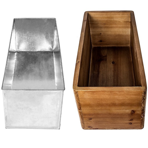 Galvanized metal insert and wood trough wine bottle chiller