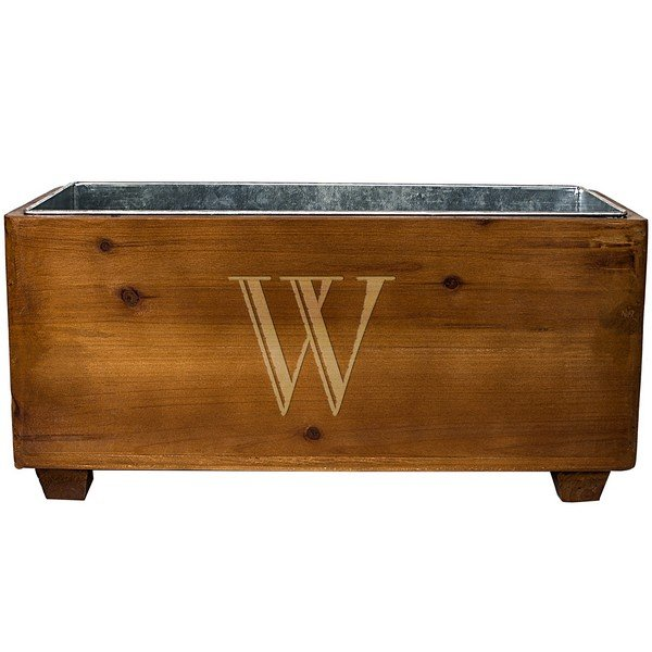 Rustic wood planter box personalized with large single initial