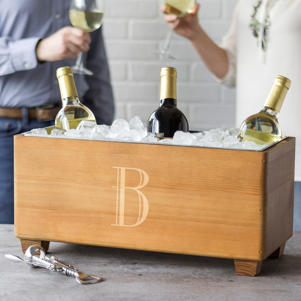 Wine bottles in wood trough beverage chiller personalized with large single initial
