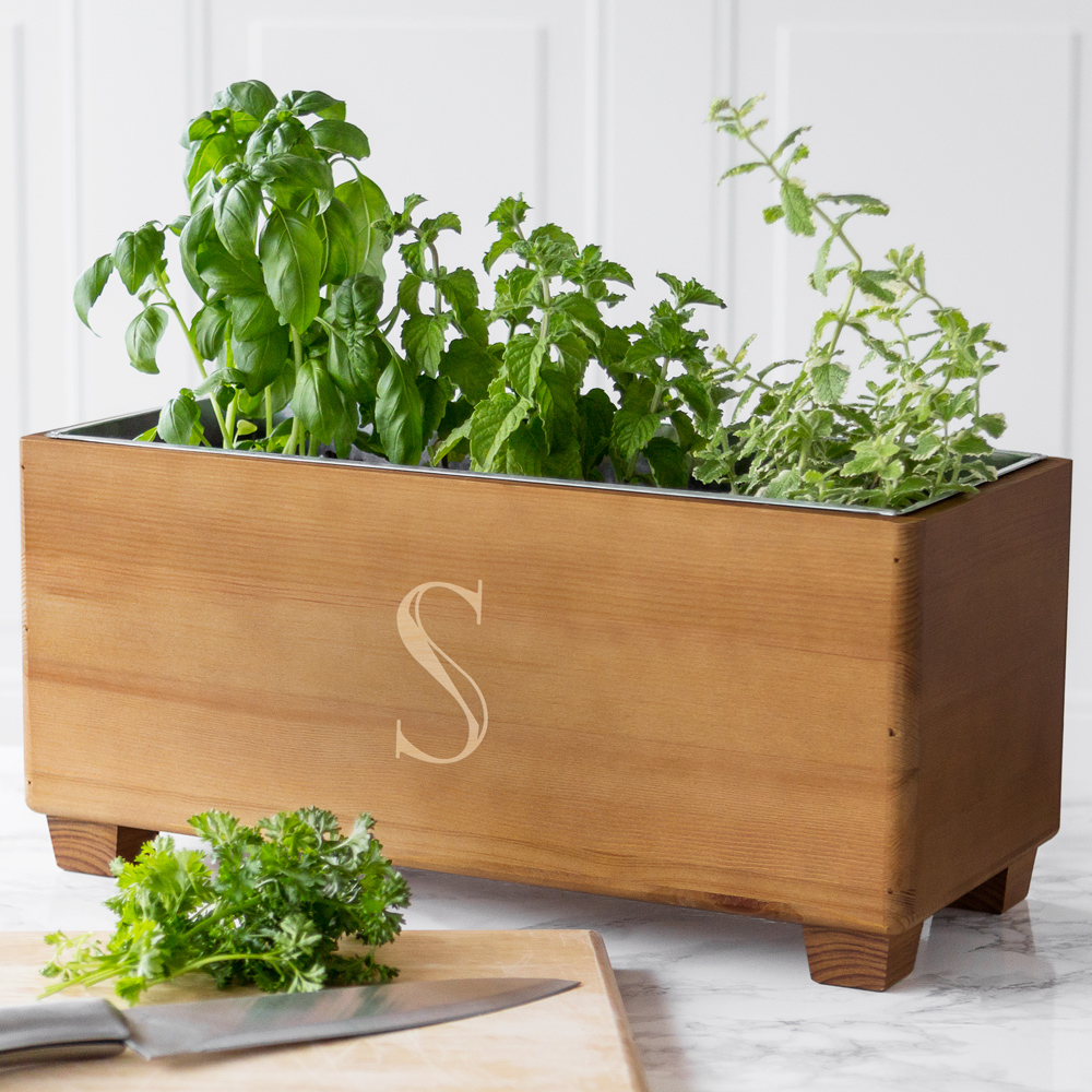 Personalized rustic wood wine trough used as herb planter