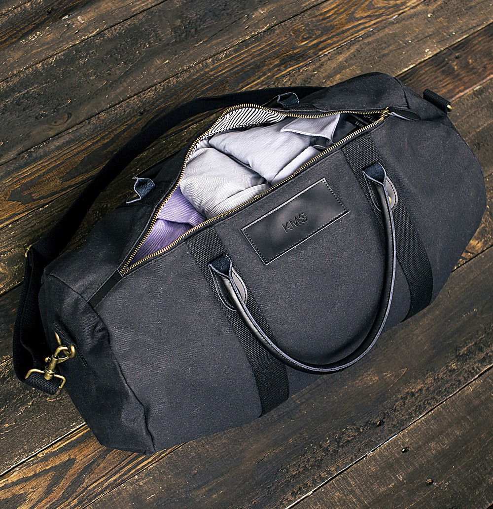 Personalized black canvas and leather duffle bag