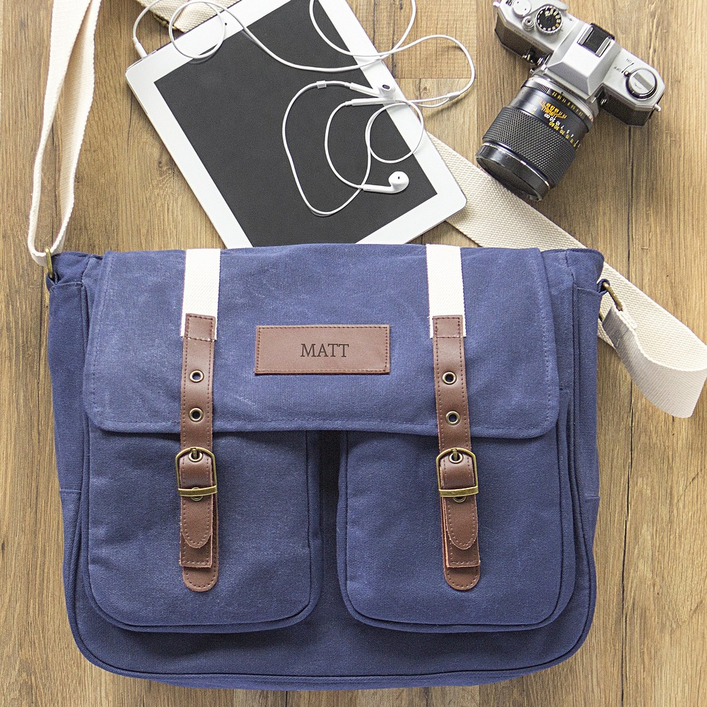 Messenger Bag Navy Blue Waxed Canvas