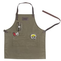 Mens waxed canvas & leather apron personalized with 3 initials