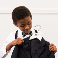 Personalized Ring Bearer Hanger in White with Classic Personalization Option.