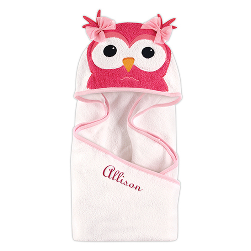Personalized Animal Face Towel in Owl Print with Fuchsia Thread Color and French Script Lettering Style