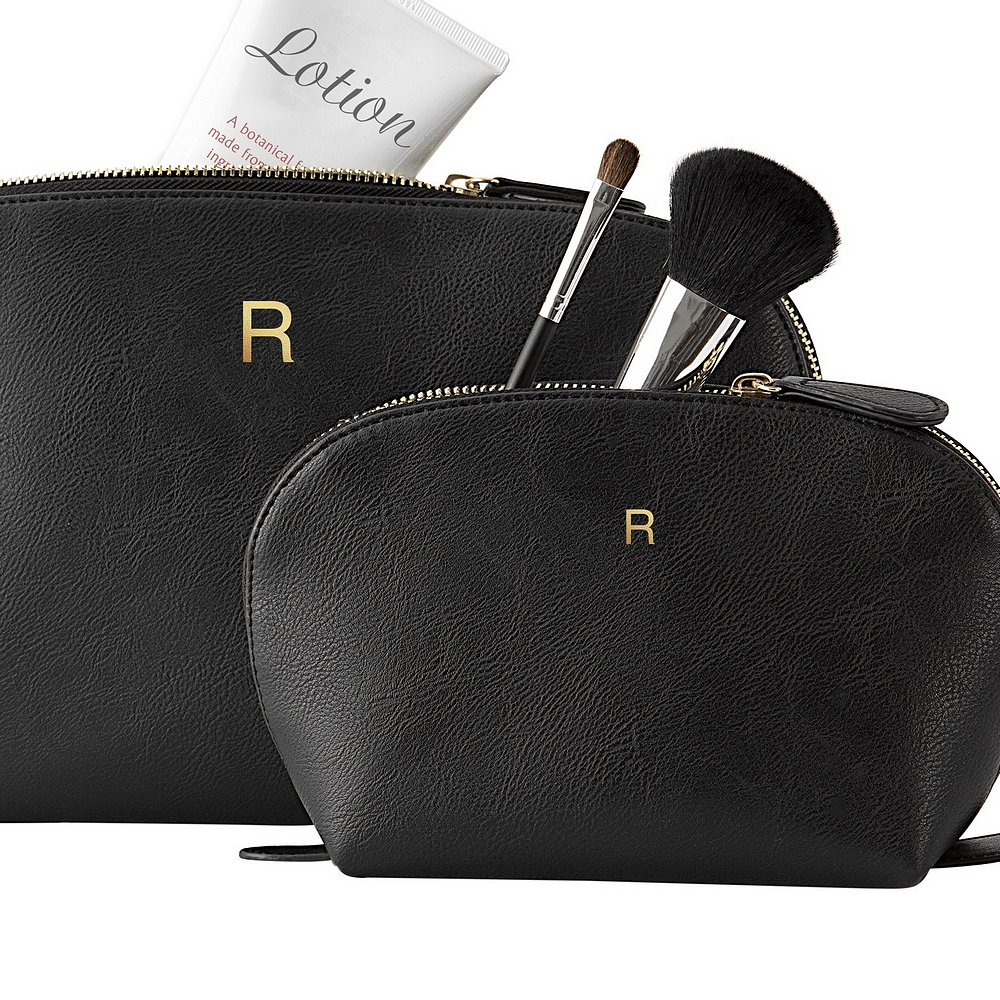 2-Piece black vegan leather travel case set personalized with gold single initial for bridesmaids gifts