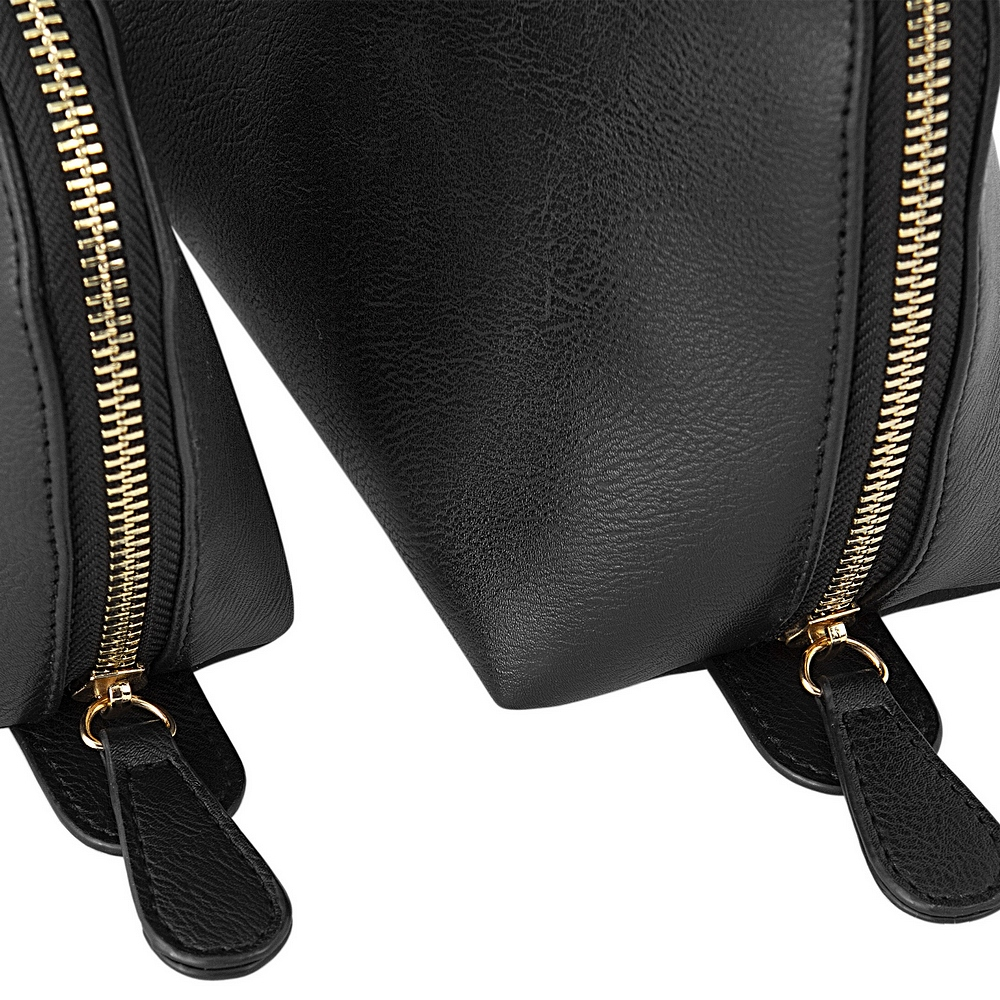 Closeup of zippers and zipper pull tabs on 2-Piece black vegan leather travel case set