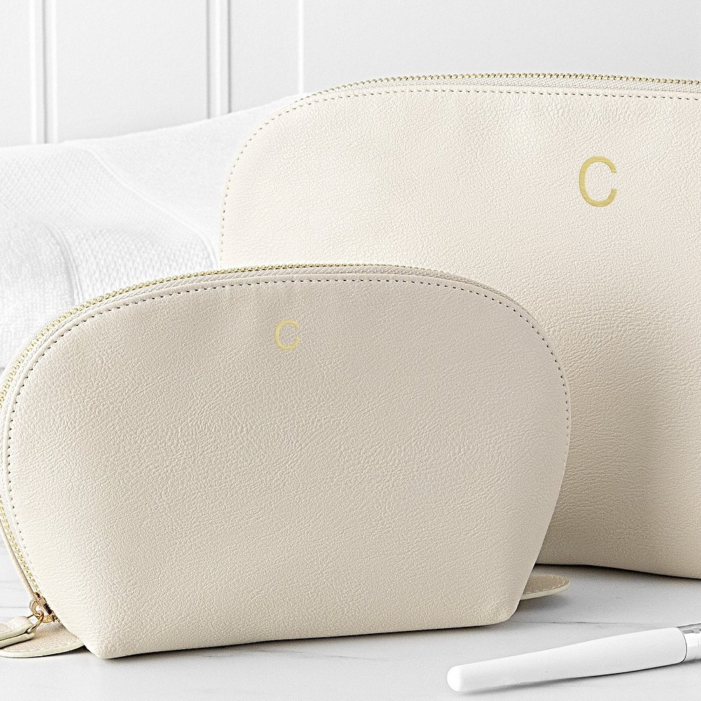 2-Piece cream vegan leather travel case set personalized with gold single initial for bridesmaids gifts